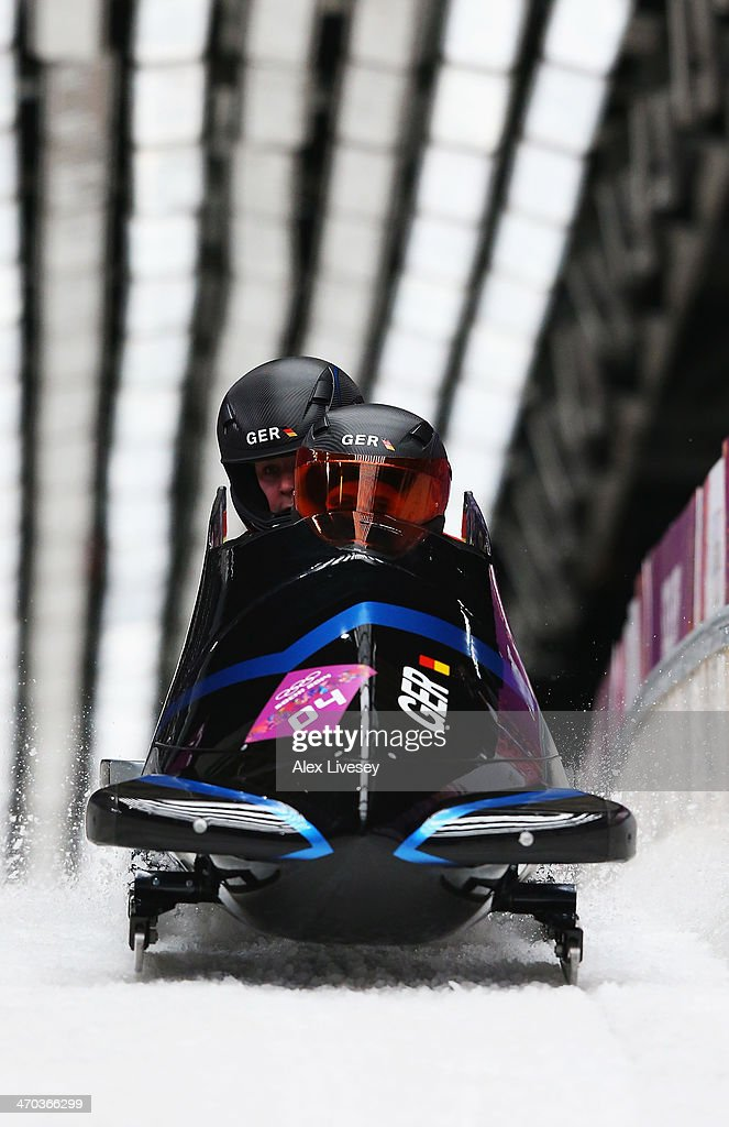 Sandra Kiriasis and Franziska Fritz of Germany team 1 compete during the Women's Bobsleigh on Day 12 of the Sochi 2014 Winter Olympics at Sliding...