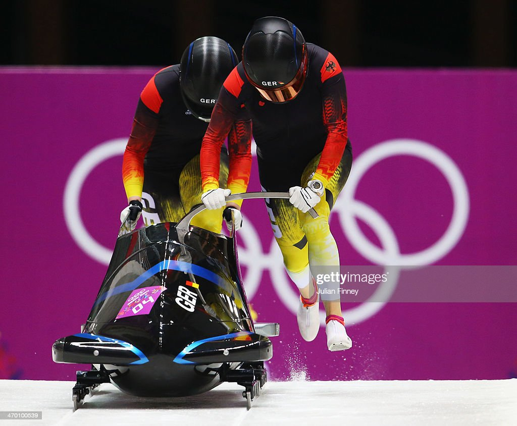 Sandra Kiriasis and Franziska Fritz of Germany team 1 make a run during the Women's Bobsleigh heats on day 11 of the Sochi 2014 Winter Olympics at...