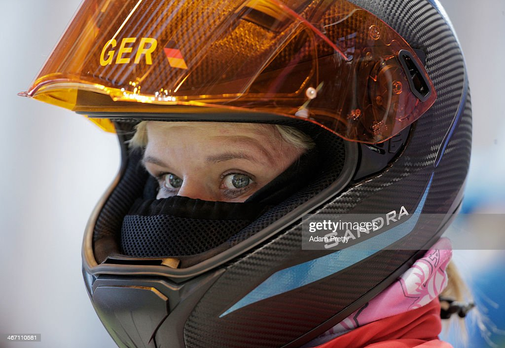 Sandra Kiriasis of Germany looks on prior to a Women's bobsleigh run practise ahead of the Sochi 2014 Winter Olympics at the Sanki Sliding Center on...
