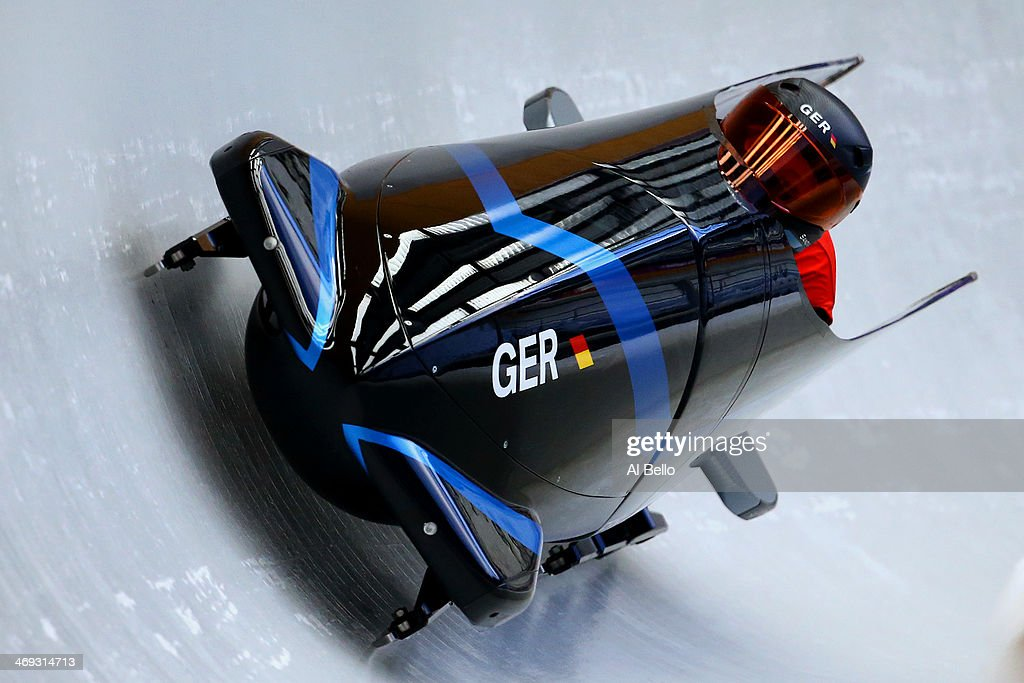 Sandra Kiriasis of Germany pilots a run during a Women's Bobsleigh training session on day 7 of the Sochi 2014 Winter Olympics at the Sanki Sliding...