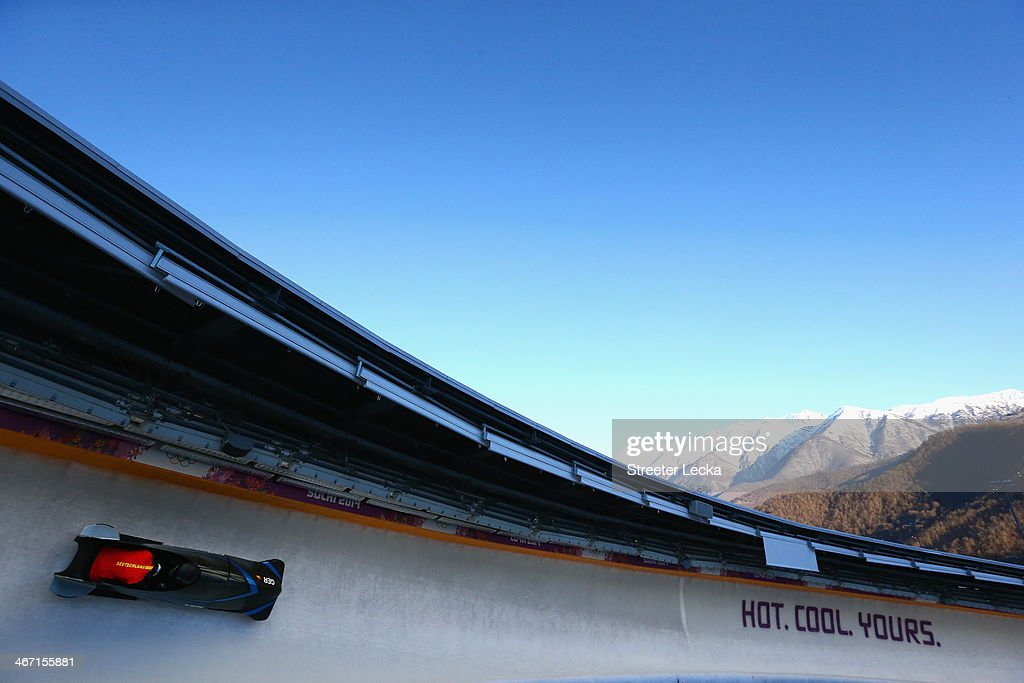 Sandra Kiriasis pilots the women's Germany 3 bobsled during practice ahead of the Sochi 2014 Winter Olympics at the Sanki Sliding Center on February...