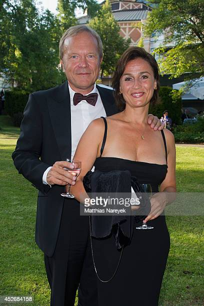 Sandra Maischberger and Jan Kerhart attend the Bayreuth Festival Opening 2014 on July 25 2014 in Bayreuth Germany