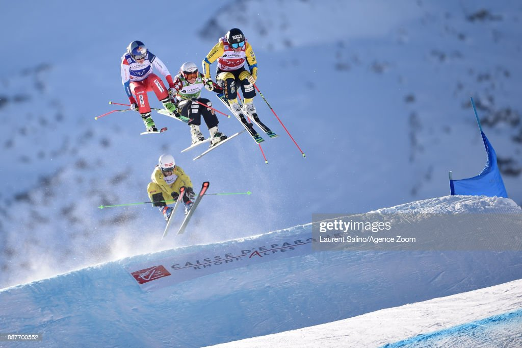 Sandra Naeslund of Sweden takes 1st place, Kelsey Serwa of Canada takes 3rd place, Fanny Smith of Switzerland competes, Celia Funkler of Germany competes during the FIS Freestyle Ski World Cup, Men's and Women's Ski Cross on December 7, 2017 in Val Thorens, France.