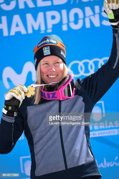 Sandra Naeslund of Sweden wins the gold medal during the FIS Freestyle Ski Snowboard World Championships Ski Cross on March 18 2017 in Sierra Nevada...