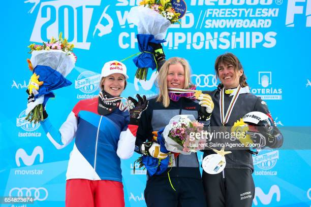 Sandra Naeslund of Sweden wins the gold medal Fanny Smith of Switzerland wins the silver medal Ophelie David of France wins the bronze medal during...