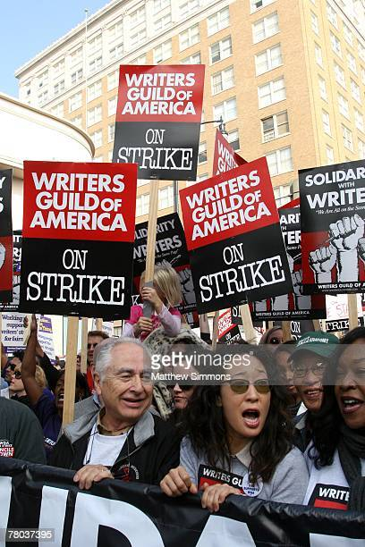 Sandra Oh marches on Hollywood Boulevard in support of the Writers Guild of America strike on November 20 2007 in Hollywood California