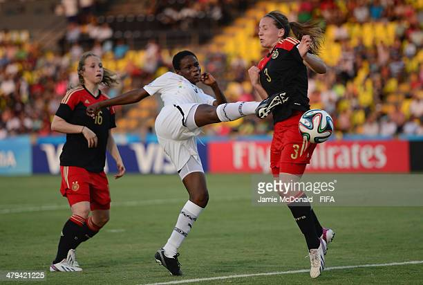 Sandra Owusu Ansah of Ghana battles with Lisa Karl of Germany during the FIFA U17 Women's World Cup Grroup B match between Ghana and Germany at...