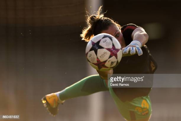 Sandra Panos of FC Barcelona in action during the warm up prior to the UEFA Womens Champions League round of 32 match between FC Barcelona and...