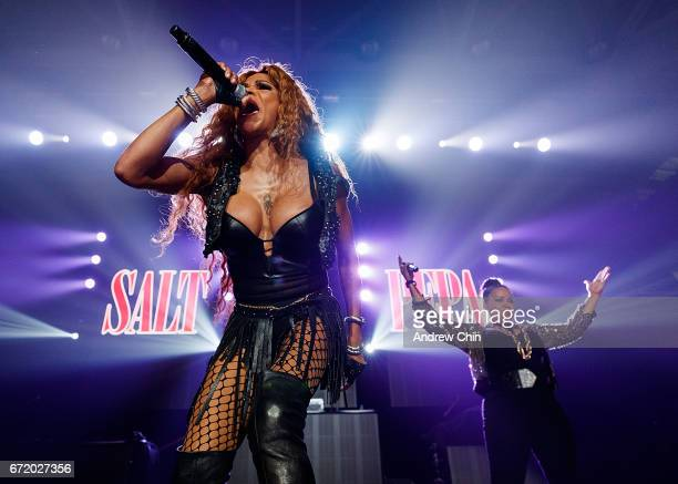 Sandra 'Pepa' Denton and Cheryl 'Salt' James of Hiphop Trio SaltNPepa perform on stage during the 'I Love The 90's Tour' at Abbotsford Centre on...