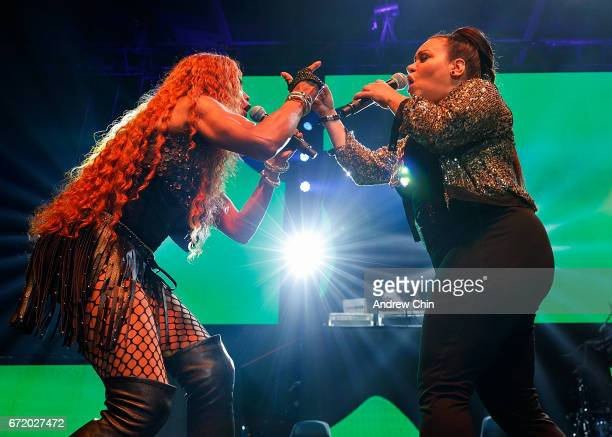 Sandra 'Pepa' Denton Deidra Roper and Cheryl 'Salt' James of Hiphop Trio SaltNPepa performs on stage during the 'I Love The 90's Tour' at Abbotsford...