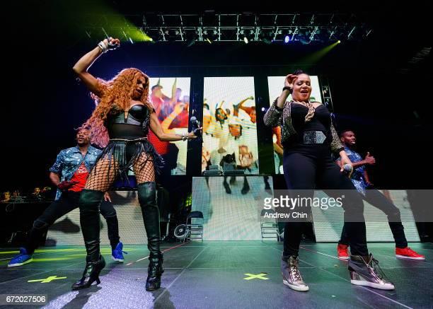 Sandra 'Pepa' Denton Deidra Roper and Cheryl 'Salt' James of Hiphop Trio SaltNPepa perform on stage during the 'I Love The 90's Tour' at Abbotsford...