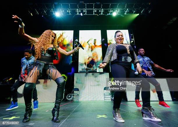 Sandra 'Pepa' Denton Deidra Roper and Cheryl 'Salt' James of Hiphop Trio SaltNPepa perform on stage during the 'I Love The 90's Tour' at Abbotsford...