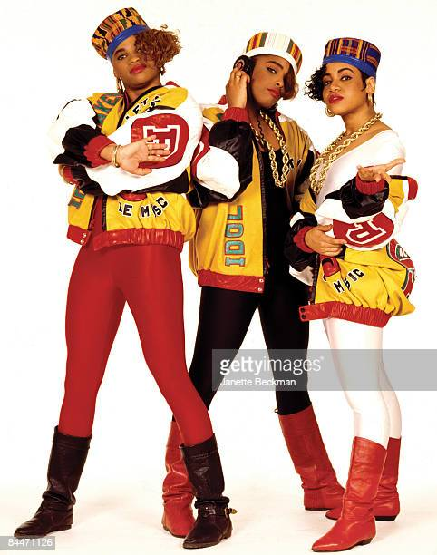 Sandra 'Pepa' Denton Deirdre 'Spinderella' Roper and Cheryl 'Salt' James better known collectively as the hiphop group Salt n Pepa pose for their...