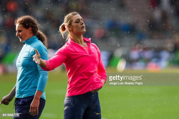 Sandra Perkovic of Croatia and Mélina RobertMichon of France compete in women's Discus Throw during the AG Insurance Memorial Van Damme as part of...