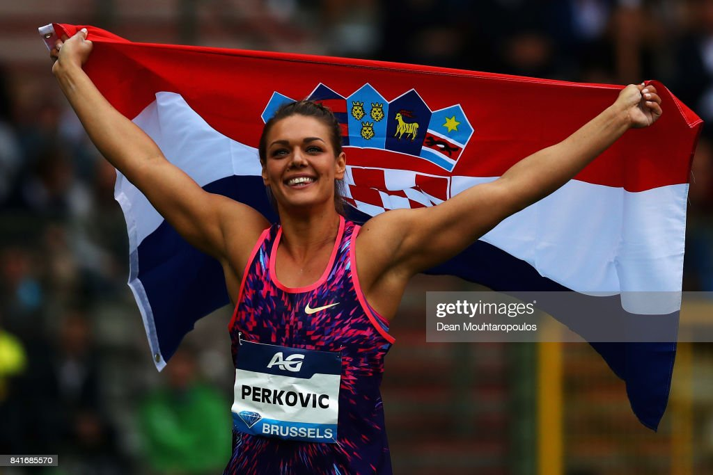 Sandra Perkovic of Croatia celebrates winning the Discus Throw Women during the AG Memorial Van Damme Brussels as part of the IAAF Diamond League 2017 at King Baudouin Stadium on September 1, 2017 in Brussels, Belgium.