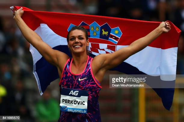 Sandra Perkovic of Croatia celebrates winning the Discus Throw Women during the AG Memorial Van Damme Brussels as part of the IAAF Diamond League...