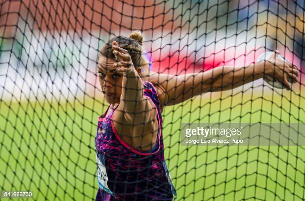 Sandra Perkovic of Croatia competes in women's Discus Throw during the AG Insurance Memorial Van Damme as part of the IAAF Diamond League 2017 in...