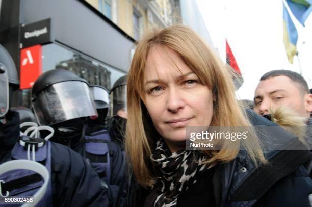 Sandra Roelofs the Dutch wife of anticorruption activist Mikheil Saakashvili arrives at the court on Khreshchatyk street in Kiev Ukraine on December...