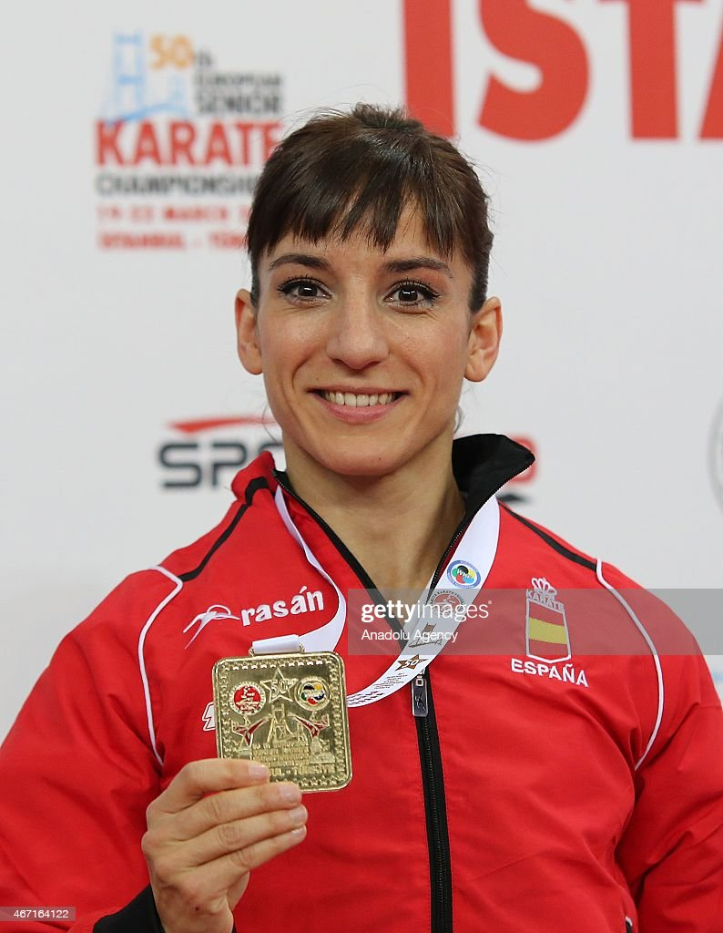 Sandra Sanchez Jaime of Spain poses with gold medal after women's final match of Kata within 50th European Seniors Karate Championship at Sinan Erdem Sport Hall in Istanbul, Turkey on March 21, 2015.