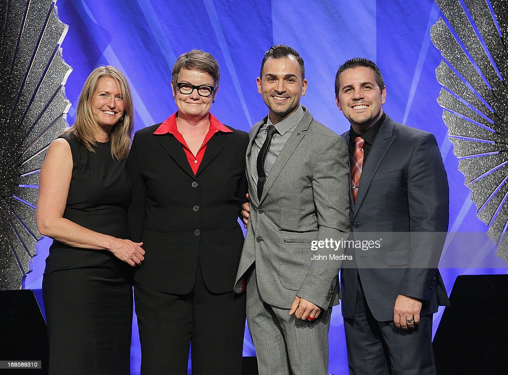 Sandra Stier, Kris Perry, Paul Katami and Jeff Zarrillo, plaintiffs in the California Prop 8 measure which restricts marriages to between a man and a woman, pose for a photo during the 24th Annual GLAAD Media Awards at the Hilton San Francisco - Union Square on May 11, 2013 in San Francisco, California.