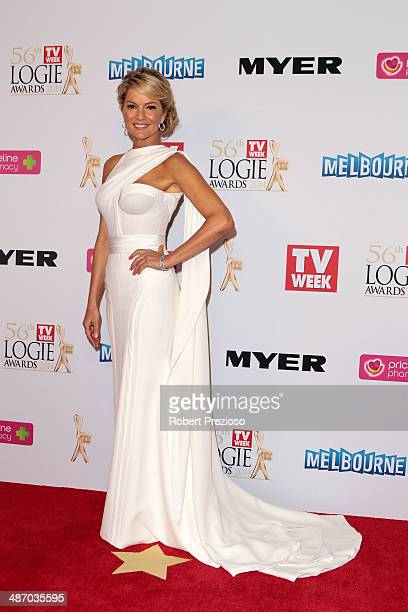 Sandra Sully arrives at the 2014 Logie Awards at Crown Palladium on April 27 2014 in Melbourne Australia