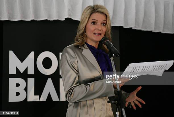 Sandra Sully attends the official launch celebrating the arrival of the Montblanc Art Bags sculptures at the Martin Place Amphitheatre on March 12...