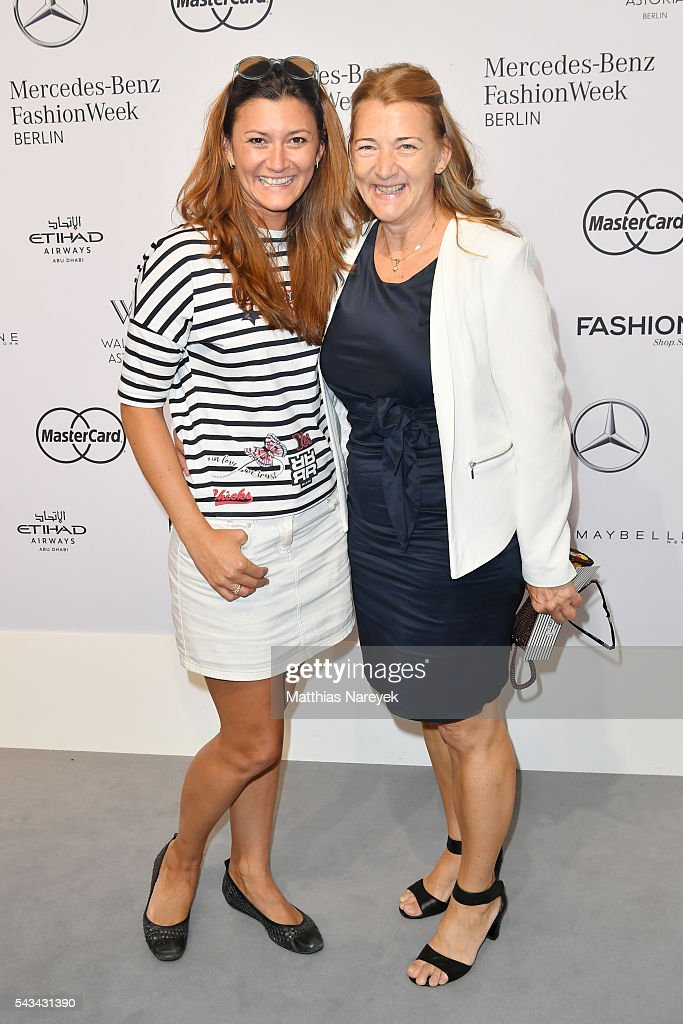 Sandra Thier and her mother attend the Riani show during the Mercedes-Benz Fashion Week Berlin Spring/Summer 2017 at Erika Hess Eisstadion on June 28, 2016 in Berlin, Germany.
