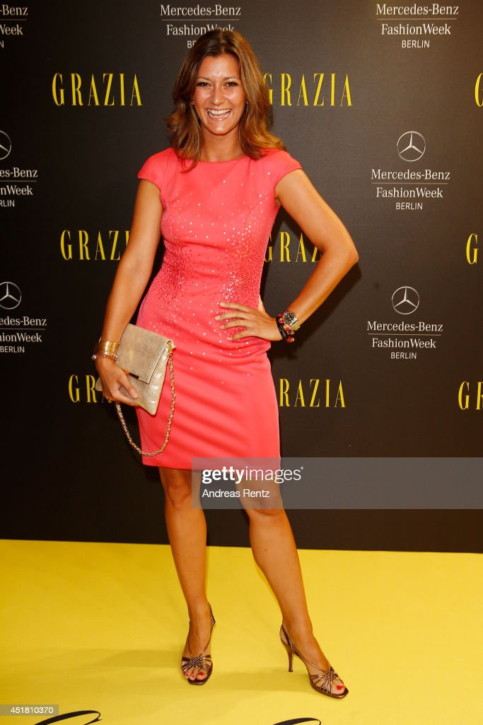 Sandra Thier arrives for the Opening Night by Grazia fashion show during the Mercedes-Benz Fashion Week Spring/Summer 2015 at Erika Hess Eisstadion on July 7, 2014 in Berlin, Germany.
