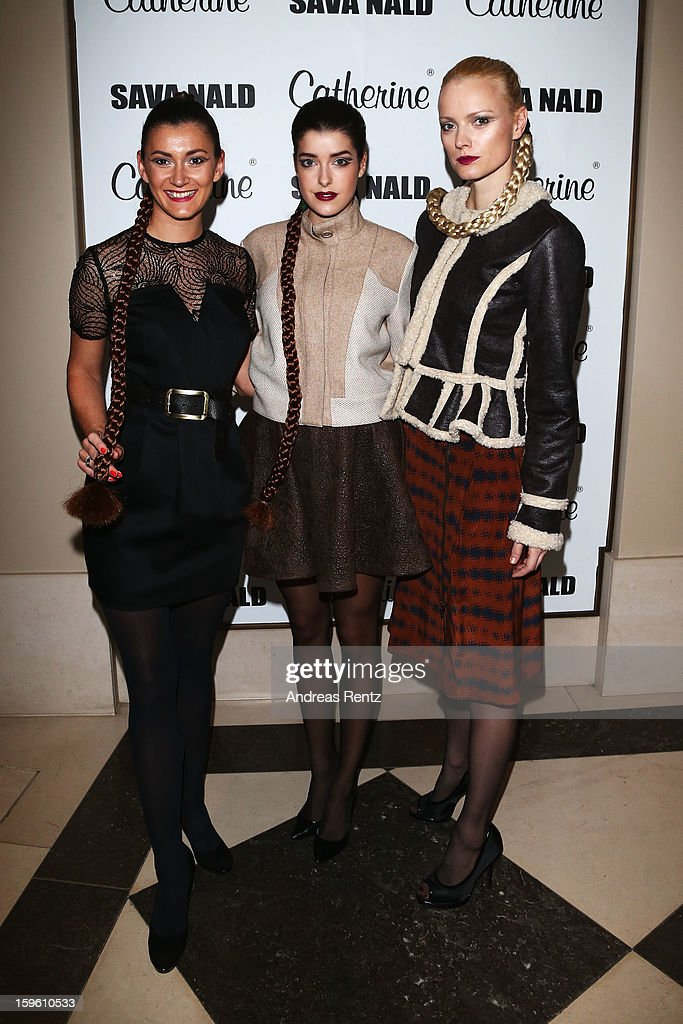 Sandra Thier, Marie Nasemann and Franziska Knuppe attend Sava Nald Autumn/Winter 2013/14 fashion show during Mercedes-Benz Fashion Week Berlin at Hotel Adlon Kempinski on January 17, 2013 in Berlin, Germany.