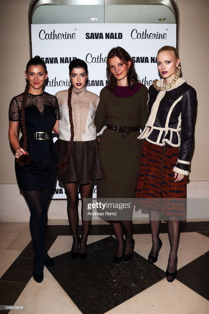Sandra Thier, Marie Nasemann,Inna Thomas and Franziska Knuppe attend Sava Nald Autumn/Winter 2013/14 fashion show during Mercedes-Benz Fashion Week Berlin at Hotel Adlon Kempinski on January 17, 2013 in Berlin, Germany.