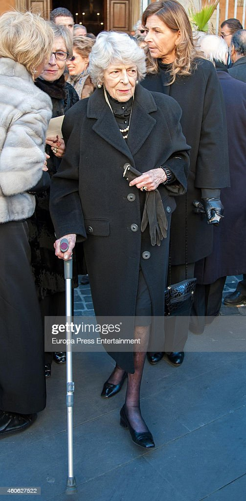 Sandra Torlonia attends the funeral for Prince of Civitella-Cesi, Marco Torlonia, at San Lorenzo in Lucina church on December 9, 2014 in Rome, Italy.