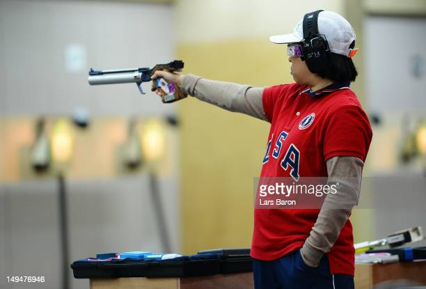 Sandra Uptagrafft of the United States competes in the qualification round of the Women's 10m Air Pistol Shooting on Day 2 of the London 2012 Olympic...