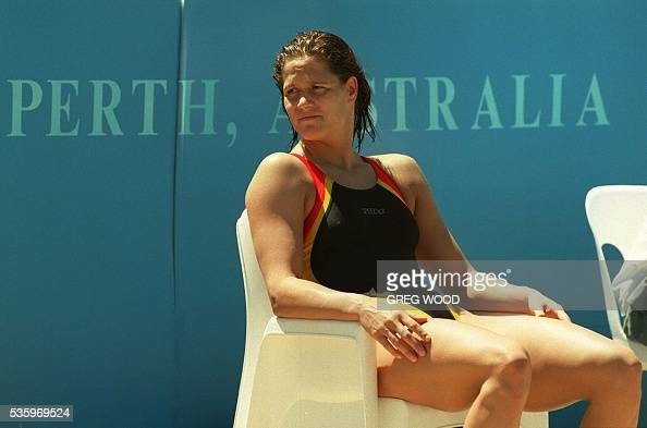 Sandra Voelker Of Germany Takes A Break At The World Swimming Training Pool At Challenge Stadium