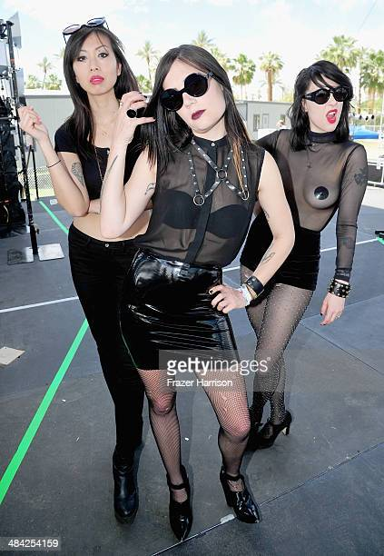 Sandra Vu Jules Medeiros and Dee Dee Penny of Dum Dum Girls backstage during day 1 of the 2014 Coachella Valley Music Arts Festival at the Empire...