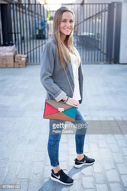 Sandra wears Nike trainers PullBear jacket and Zara trousers and tshirt on May 11 2015 in Madrid Spain