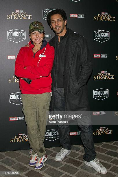 Sandra Zeitoun de Matteis and actor Tomer Sisley attend the 'ComicCon Paris 2016' Festival on October 23 2016 in Paris France