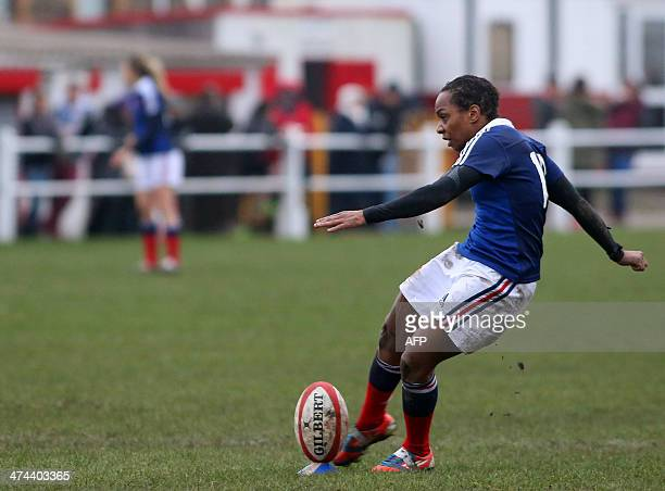 Sandrine Agricole of France kicks a conversion during the Women's Six Nations rugby union match between Wales and France at Talbot Athletic Ground in...