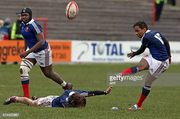 Sandrine Agricole of France kicks a penalty during the Women's Six Nations rugby union match between Wales and France at Talbot Athletic Ground in...