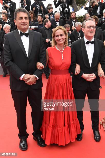 Sandrine Bonnaire and guests attend 'Amant Double ' Red Carpet Arrivals during the 70th annual Cannes Film Festival at Palais des Festivals on May 26...