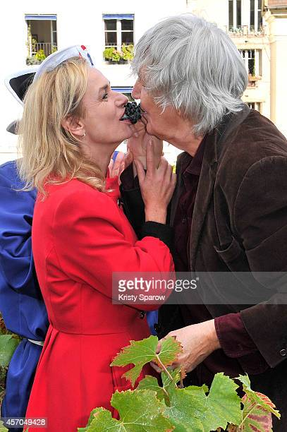 Sandrine Bonnaire and Jacques Higelin attend the Fete Des Vendanges 2014 at Vigne du Clos Montmartre on October 11 2014 in Paris France