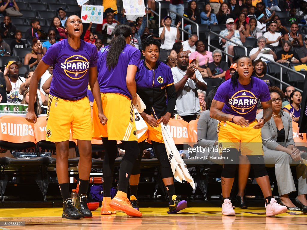 Sandrine Gruda #7, Alana Beard #0 and Riquna Williams #2 of the Los Angeles Sparks react to a play during the game against the Phoenix Mercury in Game One of the Semifinals during the 2017 WNBA Playoffs on September 12, 2017 at STAPLES Center in Los Angeles, California.