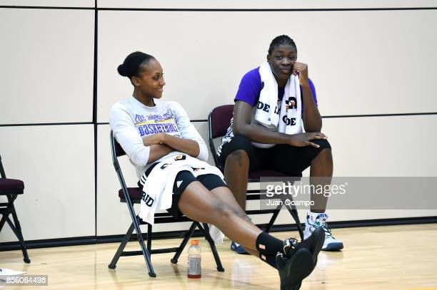 Sandrine Gruda and Maimouna Diarra of the Los Angeles Sparks and during media availability and practice at the Galen Center during the WNBA Finals in...