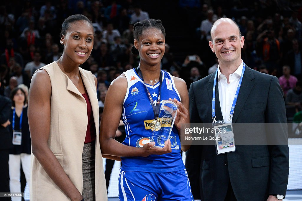 Sandrine Gruda and Valeriane Ayayi of Lattes Montpellier MVP of the match during the French Cup final match between Bourges and Lattes Montpellier at Hotel Accor Arena Bercy on 1st May, 2016 in Paris, France.