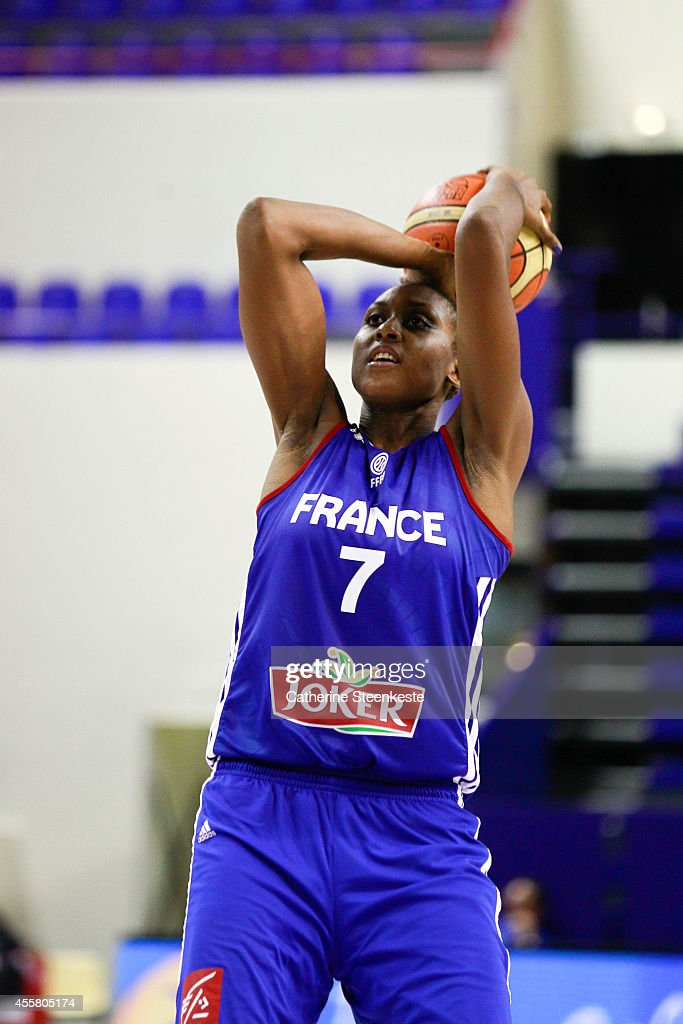 <a gi-track='captionPersonalityLinkClicked' href=/galleries/search?phrase=Sandrine+Gruda&family=editorial&specificpeople=711208 ng-click='$event.stopPropagation()'>Sandrine Gruda</a> #7 of the French Basketball Women's National Team shoots a free throw during the game between France and China at Stade Pierre de Coubertin on September 19, 2014 in Paris, France.