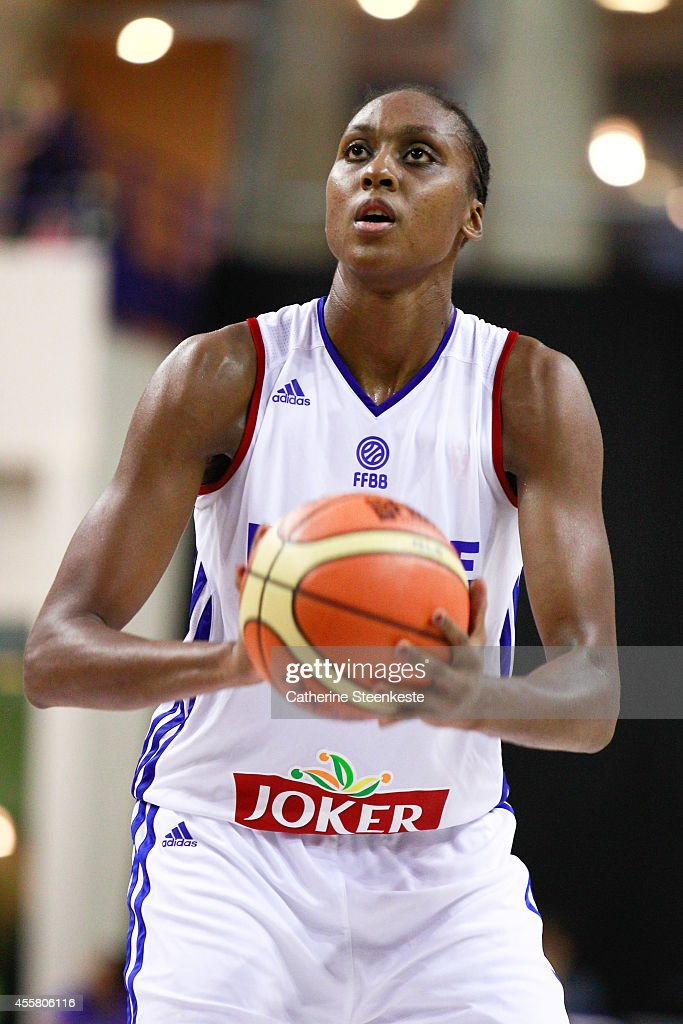 <a gi-track='captionPersonalityLinkClicked' href=/galleries/search?phrase=Sandrine+Gruda&family=editorial&specificpeople=711208 ng-click='$event.stopPropagation()'>Sandrine Gruda</a> #7 of the French Basketball Women's National Team shoots a free throw during the game between France and Australia at Stade Pierre de Coubertin on September 20, 2014 in Paris, France.