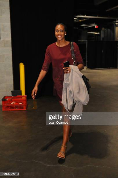 Sandrine Gruda of the Los Angeles Sparks arrives at the arena before the game against the Minnesota Lynx in Game 4 of the 2017 WNBA Finals on October...
