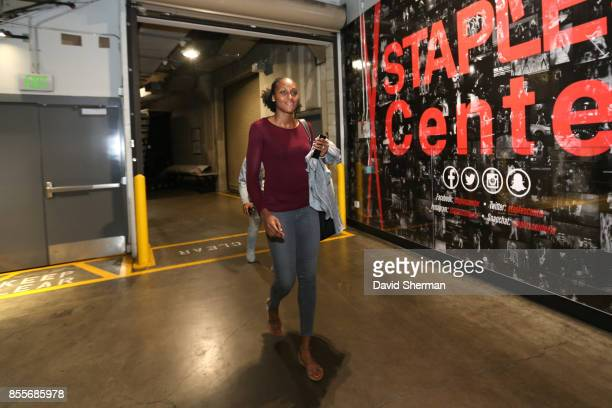 Sandrine Gruda of the Los Angeles Sparks arrives for Game Three of the 2017 WNBA Finals on September 29 2017 in Los Angeles California NOTE TO USER...