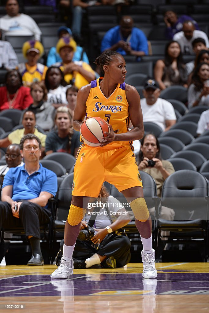 <a gi-track='captionPersonalityLinkClicked' href=/galleries/search?phrase=Sandrine+Gruda&family=editorial&specificpeople=711208 ng-click='$event.stopPropagation()'>Sandrine Gruda</a> #7 of the Los Angeles Sparks handles the ball against the Phoenix Mercury at STAPLES Center on July 24, 2014 in Los Angeles, California.