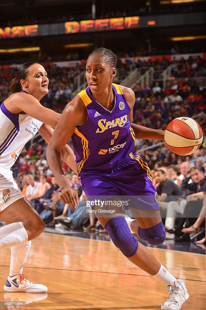 <a gi-track='captionPersonalityLinkClicked' href=/galleries/search?phrase=Sandrine+Gruda&family=editorial&specificpeople=711208 ng-click='$event.stopPropagation()'>Sandrine Gruda</a> #7 of the Los Angeles Sparks handles the ball against the Phoenix Mercury on August 16, 2014 at US Airways Center in Phoenix, Arizona.