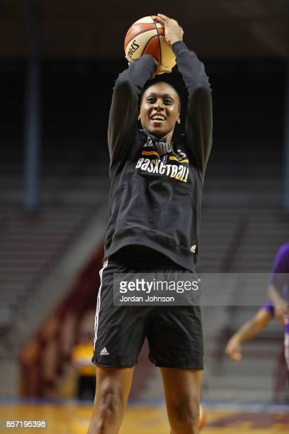Sandrine Gruda of the Los Angeles Sparks handles the ball during practice at Williams Arena during the WNBA Finals on October 3 2017 in Minneapolis...